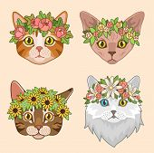Cat Heads With Flower Crown. Cute Cats In Floral Wreath, Funny Kitties For Birthday Greeting Cards.  poster