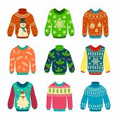 Ugly Sweater. Knitted Jumpers With Christmas Patterns, Snowman And Santa Claus. Xmas Scrapbook Eleme poster