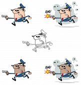 stock photo of sherif  - Illustration Of Police Man Running With A Gun - JPG