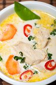 image of gai  - closeup of a thai tom kha gai soup - JPG