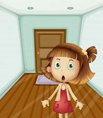Illustration of girl scared at home