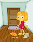 Illustration of girl sweeping the floor