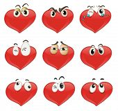 Illustrated set of heart characters
