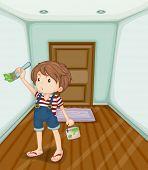 Illustratie van de jongen zijn huis schilderij