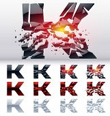 A vector letters set of a collapsing alphabet. 4 states. Symbol K