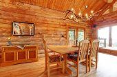 Log Cabin Dining Room Interior.