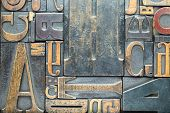Vintage Block Letters from Printing Press filling entire frame edge to edge