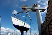 Sailboat Lift Up By A Boat Lifter