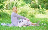Woman With Laptop Sit Grass Meadow. Best Jobs To Work Remotely. Stay Free With Remote Job. Business  poster