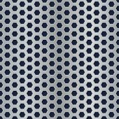 Seamless metal hexagon perforated vector texture.