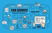 Car Maintenance, General Repair And Online Service Spare Parts. Vector. Vehicle Diagnostics, Evacuat poster