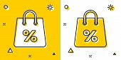 Black Shoping Bag With An Inscription Percent Discount Icon Isolated On Yellow And White Background. poster