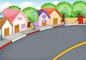 Barrio de estilo de dibujos animados junto a carretera