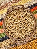 basket with soybeans on the background of the striped rows of lentils, beans, peas, grain, legumes,