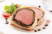 image of beef wellington  - Beef Wellington with salad - JPG