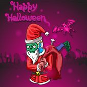 Happy Halloween. A Man Dressed As A Zombie Santa Claus Carries A Bag From Which Protruded An Arm And poster