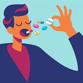 Pills In Mouth. Man Eating Many Drugs. Hand With Overdose Of Medicine. Drug Addiction Treatment And  poster