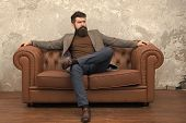 The Combination Of His Essence And Style. Bearded Man Enjoying Casual Fashion Style. Brutal Man With poster