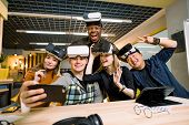 Young Group Of Multiethnical People Having Fun With Vr Headset. Caucasian Girls And Man, African And poster