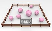 Concepto de banco, imagen con huchas