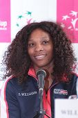 KHARKIV, UKRAINE - APRIL 19: Serena Williams at the press-conference before Fed Cup Tie between USA