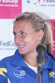 KHARKIV, UKRAINE - APRIL 19: Lesia Tsurenko at the press-conference before Fed Cup Tie between USA and Ukraine in Superior Golf & Spa Resort, Kharkiv, Ukraine at April 19, 2012