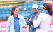 KHARKIV, UKRAINE - APRIL 20: Team captain Mary-Joe Fernandez talk to Serena Williams during Fed Cup