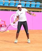 KHARKIV, UKRAINE - APRIL 19: Sloane Stephens on the court during training on Fed Cup Tie between USA and Ukraine in Superior Golf & Spa Resort, Kharkiv, Ukraine at April 19, 2012