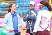 KHARKIV, UKRAINE - APRIL 20: Team captain Mary-Joe Fernandez talk to Serena Williams during Fed Cup Tie between USA and Ukraine in Superior Golf & Spa Resort, Kharkiv, Ukraine at April 20, 2012