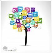 image of dial pad  - Tree with cloud of colorful application - JPG