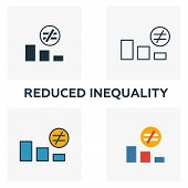 Reduced Inequality Icon Set. Four Elements In Diferent Styles From Community Icons Collection. Creat poster