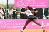 KHARKOV, UKRAINE - APRIL 22: Match between Serena Williams (pictured) and Lesia Tsurenko during Fed