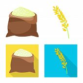 Isolated Object Of Crop And Ecological Symbol. Set Of Crop And Cooking Vector Icon For Stock. poster