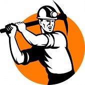 Coal Miner Working Pick Ax Retro