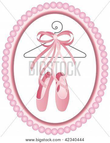 Постер, плакат: Балет обувь ярлык, холст на подрамнике