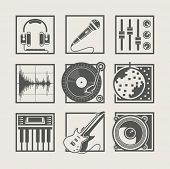 set of music instruments icons for disco party vector illustration. Vector Illustration.