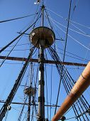 stock photo of yardarm  - detail of a sailing ship named  - JPG