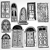 Old Doors Hand Drawn