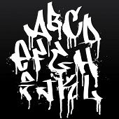 Graffiti font alphabet letters. Hip hop type grafitti design