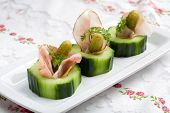 picture of crudites  - Small snack with cucumber gherkin and ham rolled into one - JPG