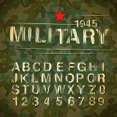 Militärische Vintage Alphabet