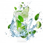 Mojito cocktail with splashing liquid isolated on white
