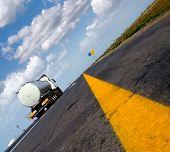 fuel gas tanker truck on highway