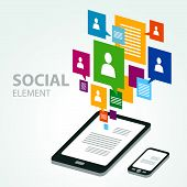 stock photo of isometric  - social icon group element table pc phone - JPG