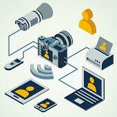 isometric photo camera professional flash working connect