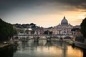 Panoramic view of St. Peter's Basilica and the Vatican City (with the river Tiber winding around it) - Rome, Italy (color toned image)