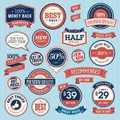 stock photo of recommendation  - Set of vintage badges and ribbons for sale - JPG