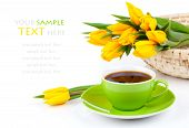 Coffee Cup With Yellow Tulips