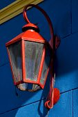 Red Street Lamp  And A Blue Yellow