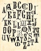stock photo of alphabet  - A set of vintage letters  - JPG